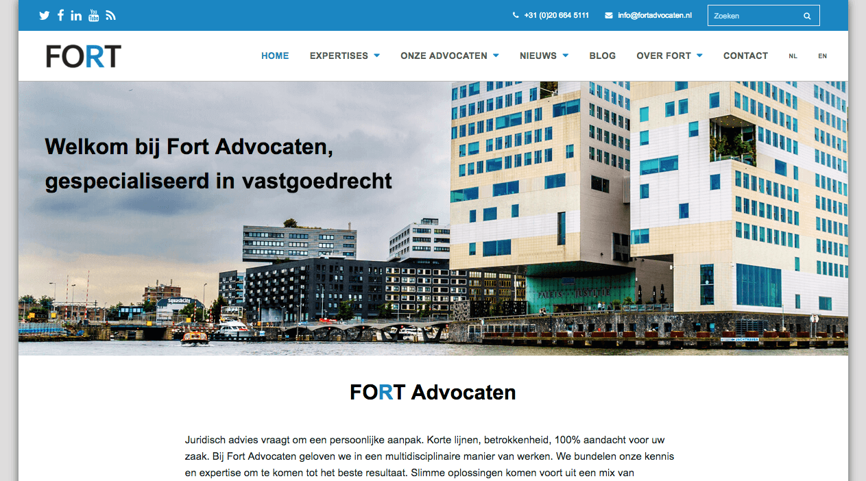 Homepage FORT Advocaten | Wordpress By Pingwin Webdesign