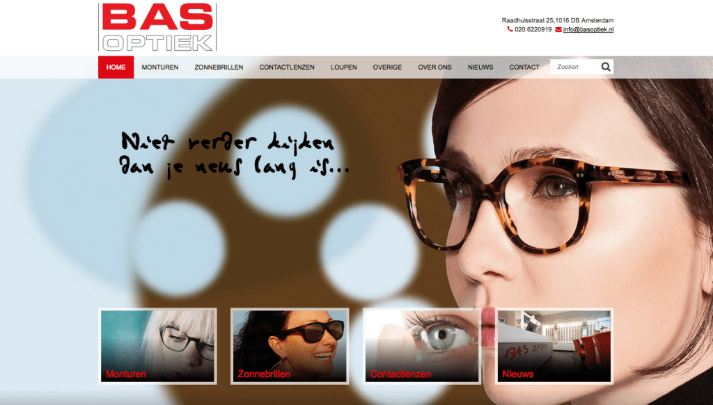 Homepage Bas Optiek
