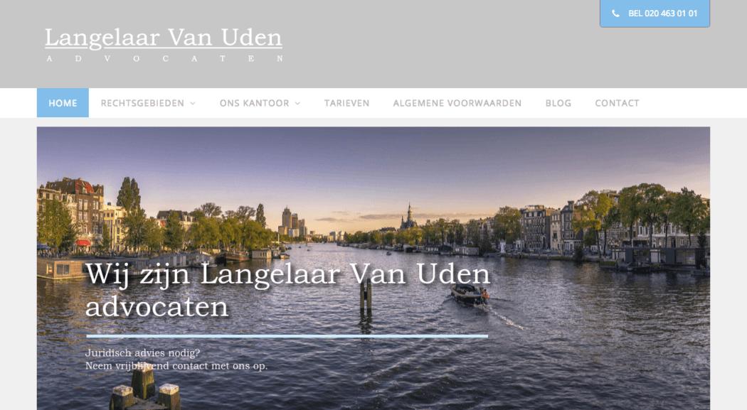Homepage Langelaar Van Uden advocaten | Webdesign by Pingwin Webdesign Amsterdam