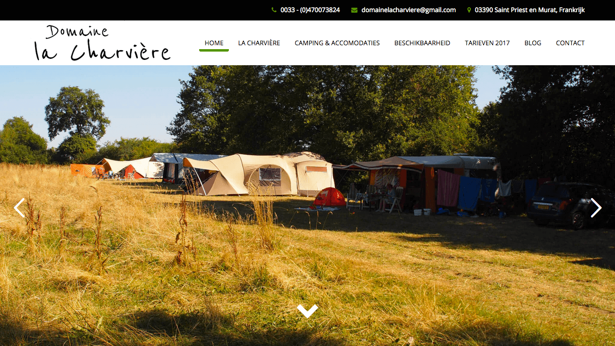 Homepage Domaine La Charviere | Webdesign By Pingwin