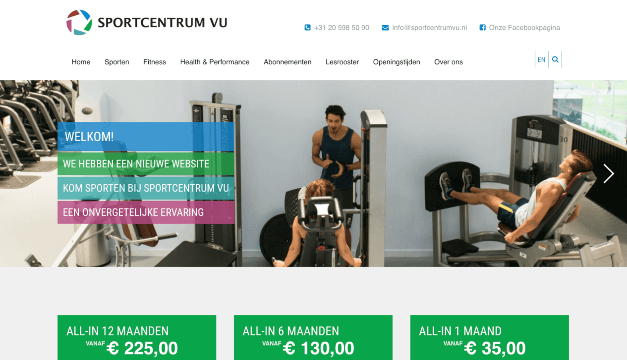Homepage VU Sportcentrum
